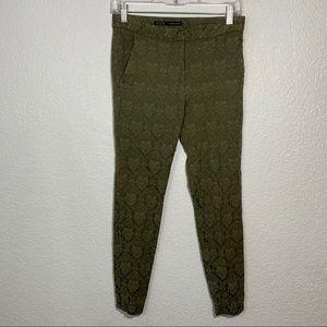 Zara Basic Green Lace Pattern Pants XS